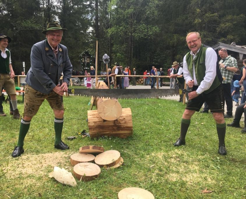Männer sägen Baumstämme per Hand